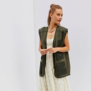 Urban Outfitters NWT Dune Olive Green Utility Vest